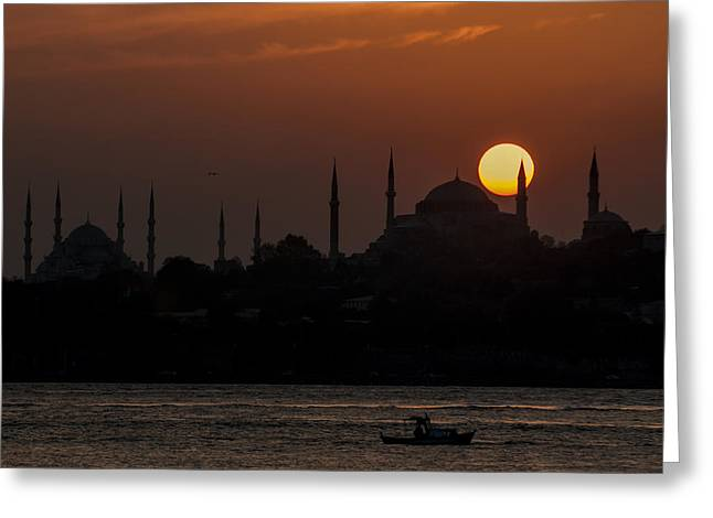 Sunset At Historical Peninsula In Istanbul Greeting Card by Ayhan Altun