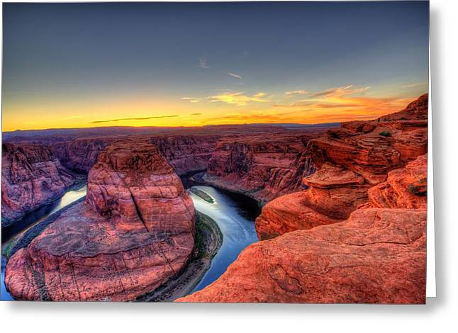Vertigo Greeting Cards - Sunset at Horseshoe Bend Greeting Card by Dave Files
