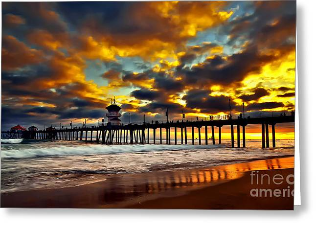 Ocean Landscape Greeting Cards - Sunset at Huntington Beach Pier Greeting Card by Peter Dang
