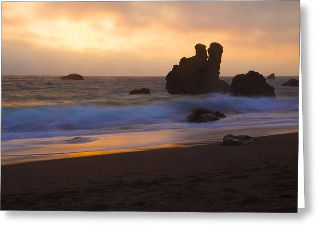 California Beach Greeting Cards - Sunset at Jenner Greeting Card by John and Nicolle Hearne