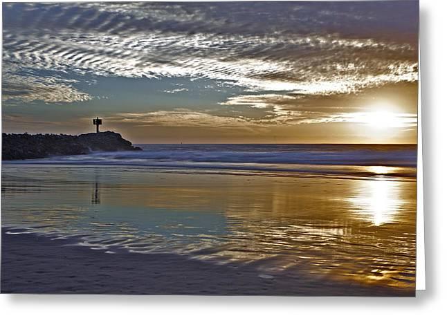 Moss Landing Harbor Greeting Cards - Sunset at Jetty 3 Moss Landing Greeting Card by SC Heffner
