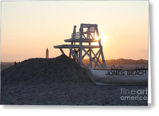 Sunset at Jones Beach Greeting Card by JOHN TELFER