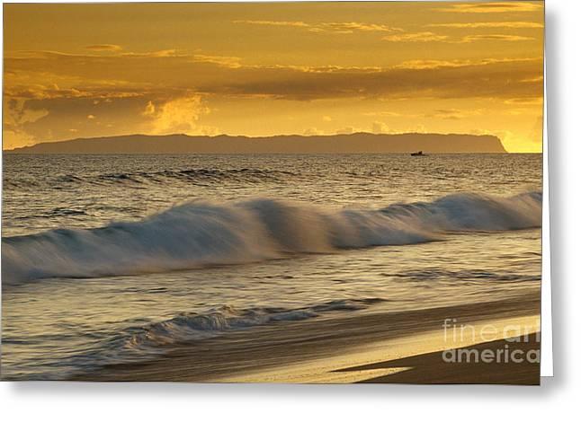 Niihau Hawaii Greeting Cards - Sunset at Kehaha Beach Kauai Greeting Card by John De Mello