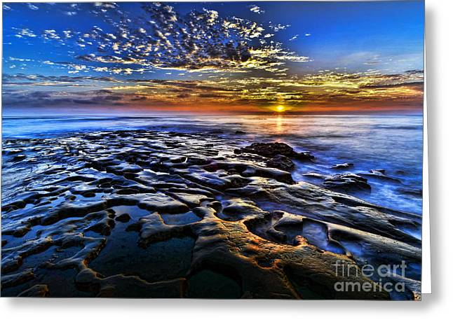 Moon Beach Pyrography Greeting Cards - Sunset at La Jolla Tide Pools Greeting Card by Peter Dang