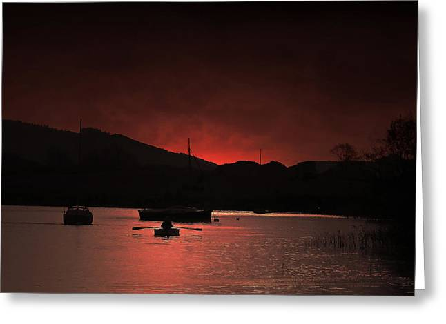 Masts Greeting Cards - Sunset at Lake Coniston Greeting Card by Andy Armfield