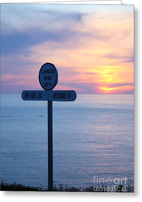Extremity Greeting Cards - Sunset at Lands End Sign Post Greeting Card by Terri  Waters