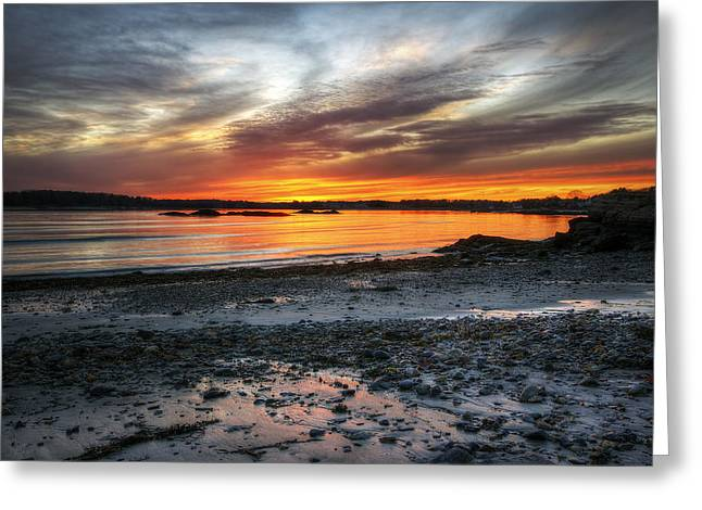 Sunset Bay State Park Greeting Cards - Sunset at Low Tide Greeting Card by Eric Gendron