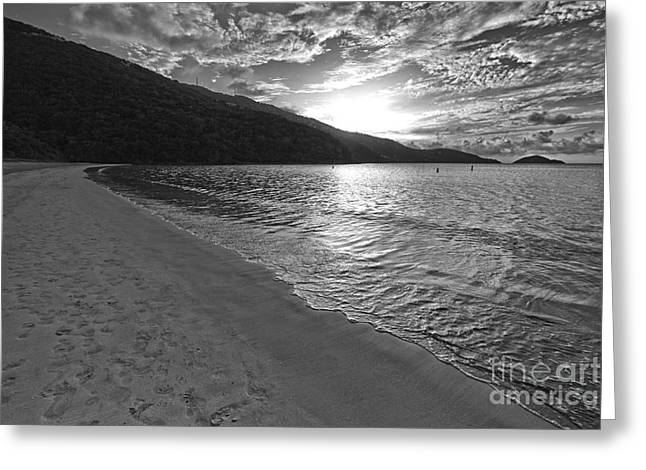 Virgin Pyrography Greeting Cards - Sunset at Magens Bay Beach Greeting Card by Eyzen M Kim