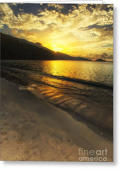 Virgin Pyrography Greeting Cards - Sunset at Magens Beach Greeting Card by Eyzen M Kim