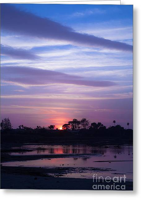 Pacific Ocean Prints Greeting Cards - Sunset At Malibu Beach Lagoon Estuary Fine Art Photograph Print Greeting Card by Jerry Cowart