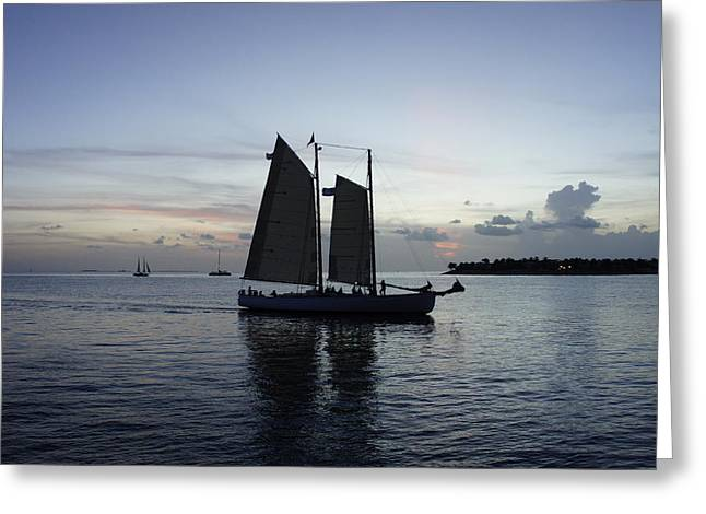 Boat Cruise Greeting Cards - Sunset at Mallory Greeting Card by Laurie Perry