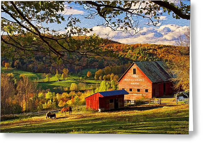 Outbuildings Greeting Cards - Sunset at Maple Grove Farm Greeting Card by Priscilla Burgers