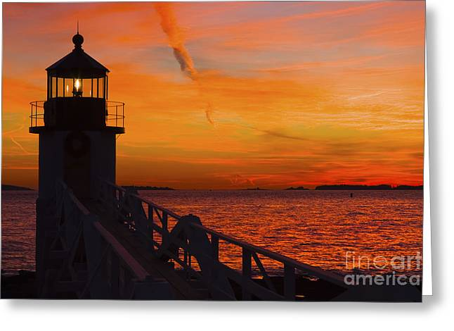 New England Lighthouse Photographs Greeting Cards - Sunset At Marshall Point Lighthouse At Sunset Maine Greeting Card by Keith Webber Jr