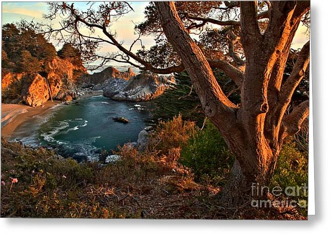 Big Sir California Greeting Cards - Sunset At McWay Falls Greeting Card by Adam Jewell