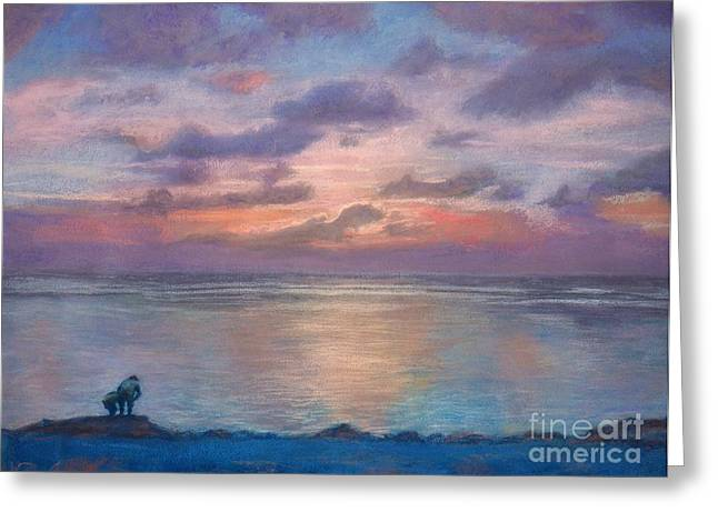 Beach Landscape Pastels Greeting Cards - sunset at Merizo Greeting Card by Lisa Pope