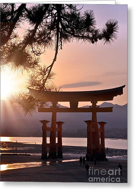 Torii Greeting Cards - Sunset at Miyajima Greeting Card by Delphimages Photo Creations