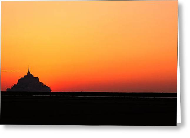 Sillouette Greeting Cards - Sunset At Mont Saint Michel Normandy Greeting Card by Panoramic Images