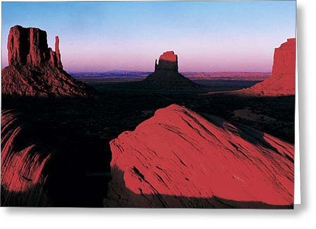 Navaho Greeting Cards - Sunset At Monument Valley Tribal Park Greeting Card by Panoramic Images