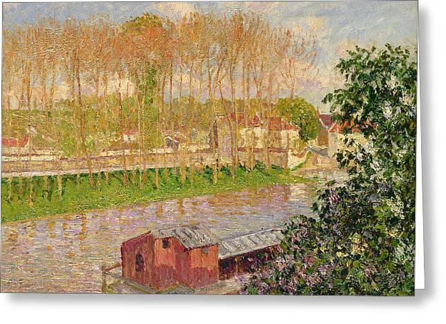 Moret Greeting Cards - Sunset at Moret sur Loing Greeting Card by Camille Pissarro