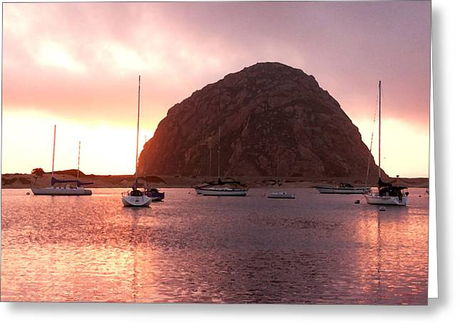 Monolith Greeting Cards - Sunset at Morro Rock Greeting Card by Art Block Collections