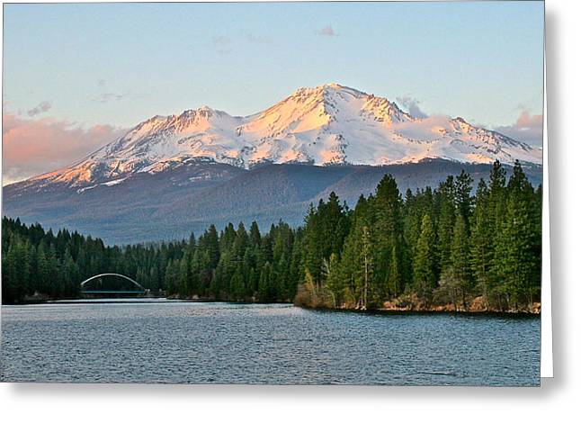 Mt Pyrography Greeting Cards - Sunset at Mount Shasta Greeting Card by DUG Harpster