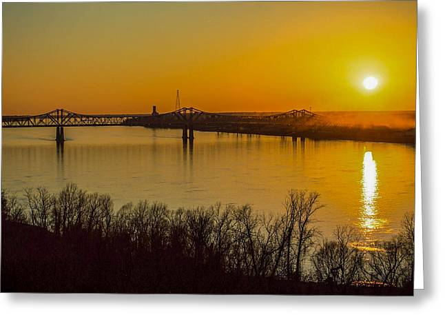 Sunset At Natchez Greeting Card by Michael Chapman