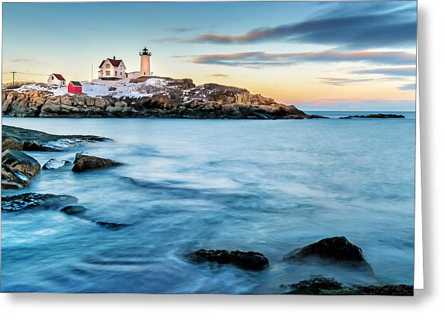 Rural Maine Greeting Cards - Sunset at Nubble Light-Cape Neddick Maine Greeting Card by Thomas Schoeller