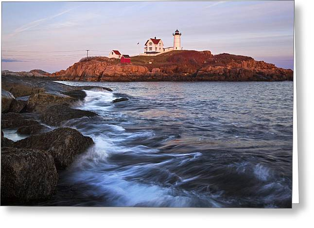Sohier Park Greeting Cards - Sunset at Nubble Light Greeting Card by Eric Gendron