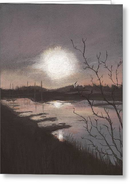 Lilac Pastels Greeting Cards - Sunset at Oare Creek Greeting Card by Nina Shilling