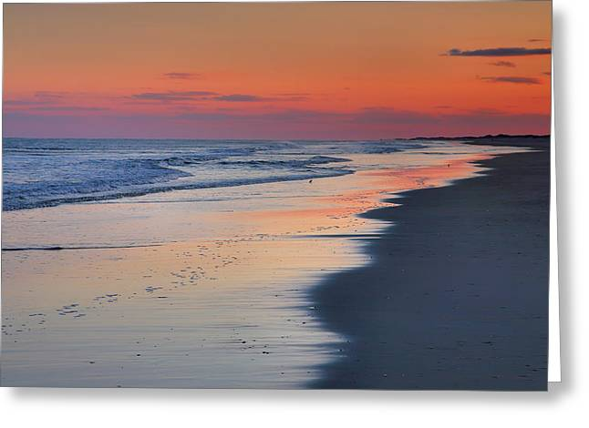 Print On Acrylic Greeting Cards - Sunset At Ocracoke II Greeting Card by Steven Ainsworth
