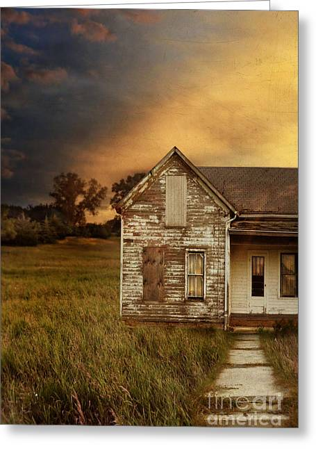 Weatherboard Greeting Cards - Sunset at Old Farmhouse Greeting Card by Jill Battaglia
