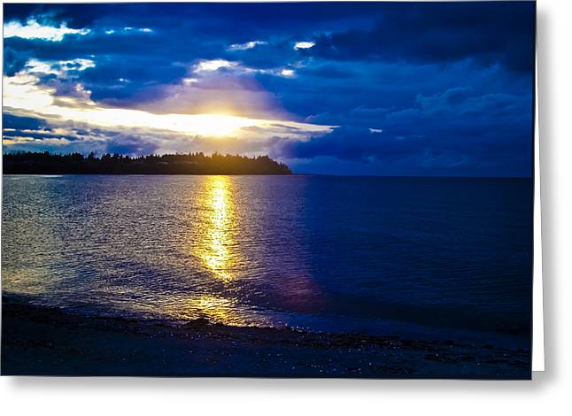 Sunflare Greeting Cards - Sunset at Parksville Beach Greeting Card by Christi Kraft