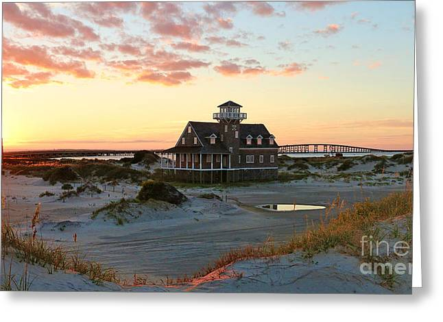 Pea Island Greeting Cards - Sunset at Pea Island Life Saving Station 2686 Greeting Card by Jack Schultz