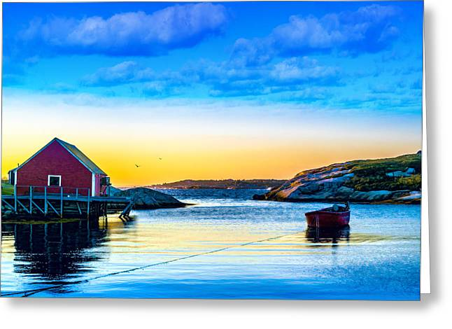 Fishing Boats Greeting Cards - Sunset at Peggys Cove  Greeting Card by Ken Morris