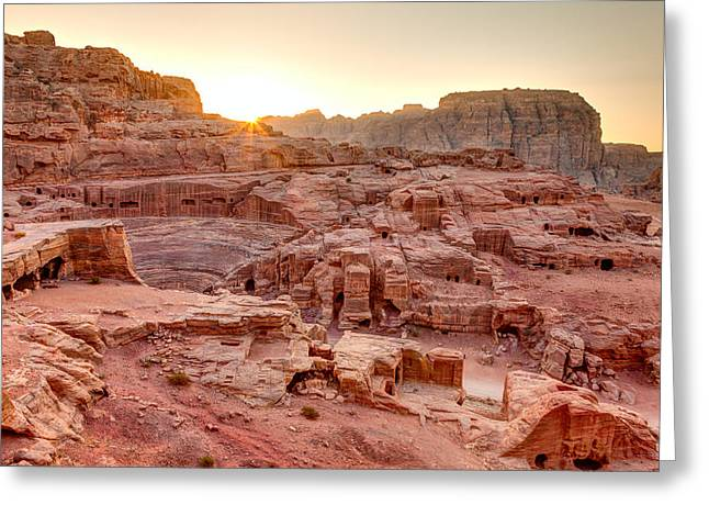Petra Greeting Cards - Sunset at Petra Greeting Card by Alexey Stiop