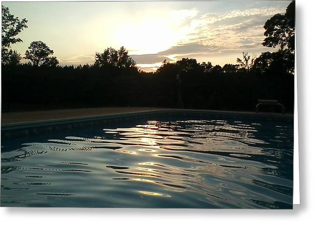 Sunset Tapestries - Textiles Greeting Cards - Sunset at Pool Greeting Card by Kirkner Stacy