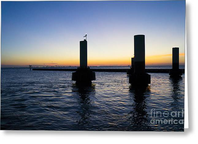 Sunset At Port Bolivar Greeting Card by Ellie Teramoto