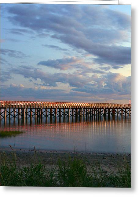 Duxbury Greeting Cards - Sunset at Powder Point Bridge Greeting Card by Kathy Kenney