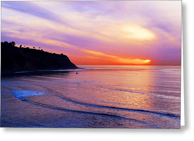 Sun Spots Greeting Cards - Sunset at PV Cove Greeting Card by Ron Regalado