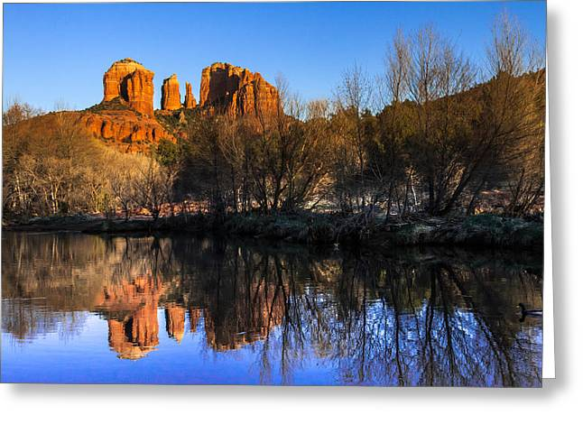 Red Rock Crossing Photographs Greeting Cards - Sunset at Red Rocks Crossing in Sedona AZ Greeting Card by Teri Virbickis