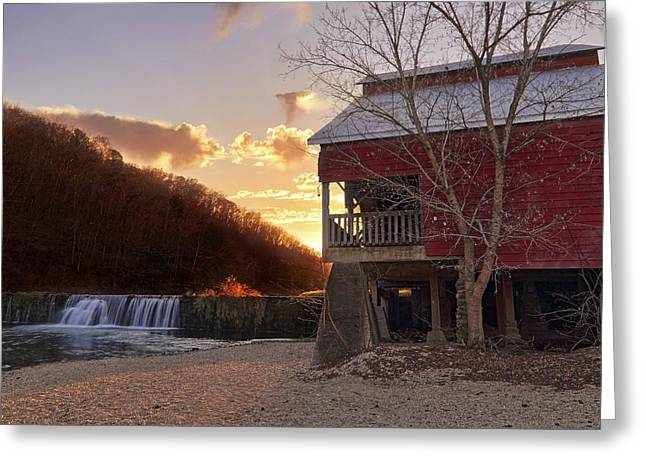 Mo Ranch Greeting Cards - Sunset at Rockbridge Mill - Ozark County Missouri Greeting Card by Jason Politte
