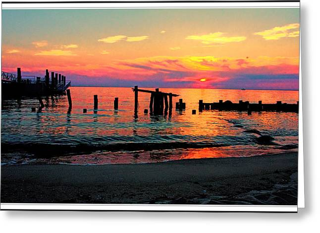 Beach Photos Greeting Cards - sunset at sandy Hook New Jersey Greeting Card by Geraldine Scull