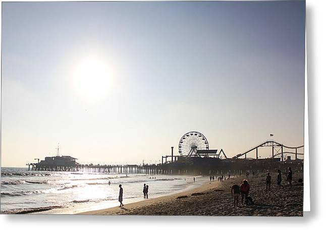 Santa Monica Pyrography Greeting Cards - Sunset at Santa Monica Beach Greeting Card by Yann Bissonnette
