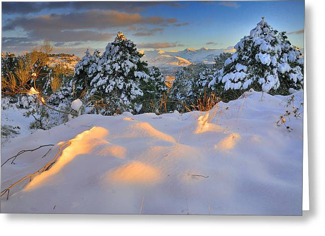 Granada Greeting Cards - Sunset at Sierra Nevada Greeting Card by Guido Montanes Castillo