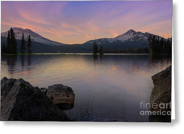 Calm Water Reflection Greeting Cards - Sunset at Sparks Lake Greeting Card by Keith Kapple