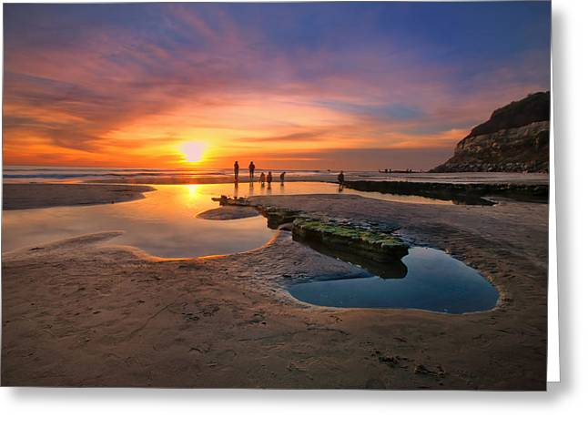 Sunset At Swamis Beach 5 Greeting Card by Larry Marshall