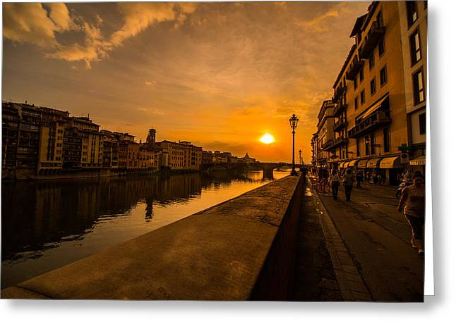 San Rafael Church Greeting Cards - Sunset at the Arno 2 Greeting Card by Arnaldo Torres