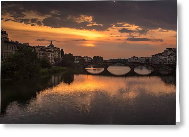 San Rafael Church Greeting Cards - Sunset at the Arno 3 Greeting Card by Arnaldo Torres