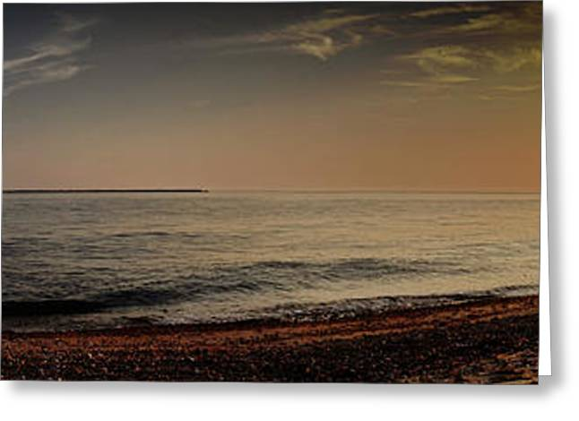New England Ocean Greeting Cards - Sunset at the Beach Panorama Greeting Card by Sabine Jacobs