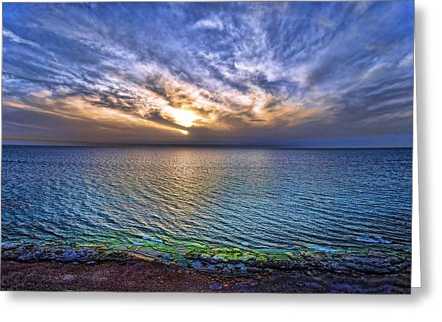 Israeli Digital Greeting Cards - Sunset At The Cliff Beach Greeting Card by Ron Shoshani